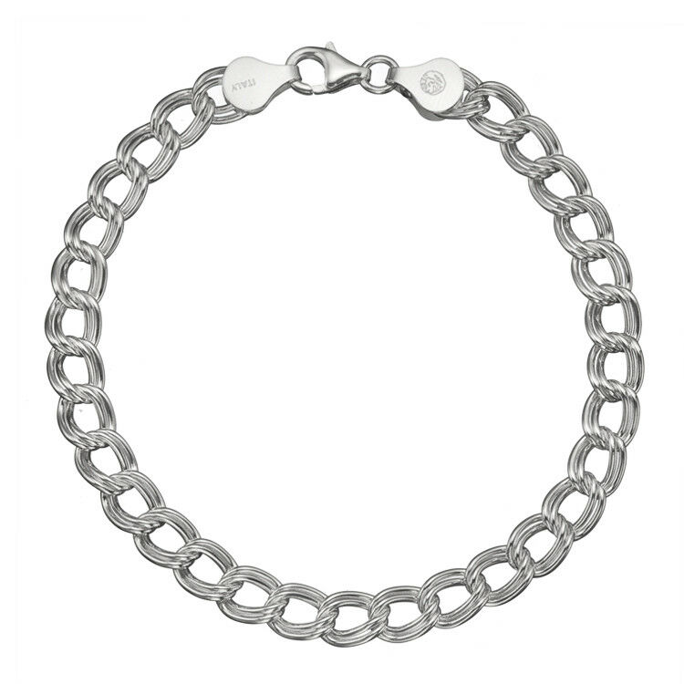 Silver Chain Link Bracelet: Pure 925 Sterling Silver 7mm Italian Double-Link Chain