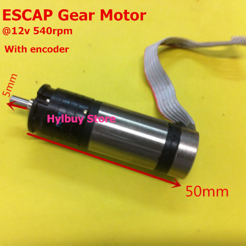 Escap 16 coreless gear motor dc 12v 470rpm 540rpm for Dc gear motor with encoder