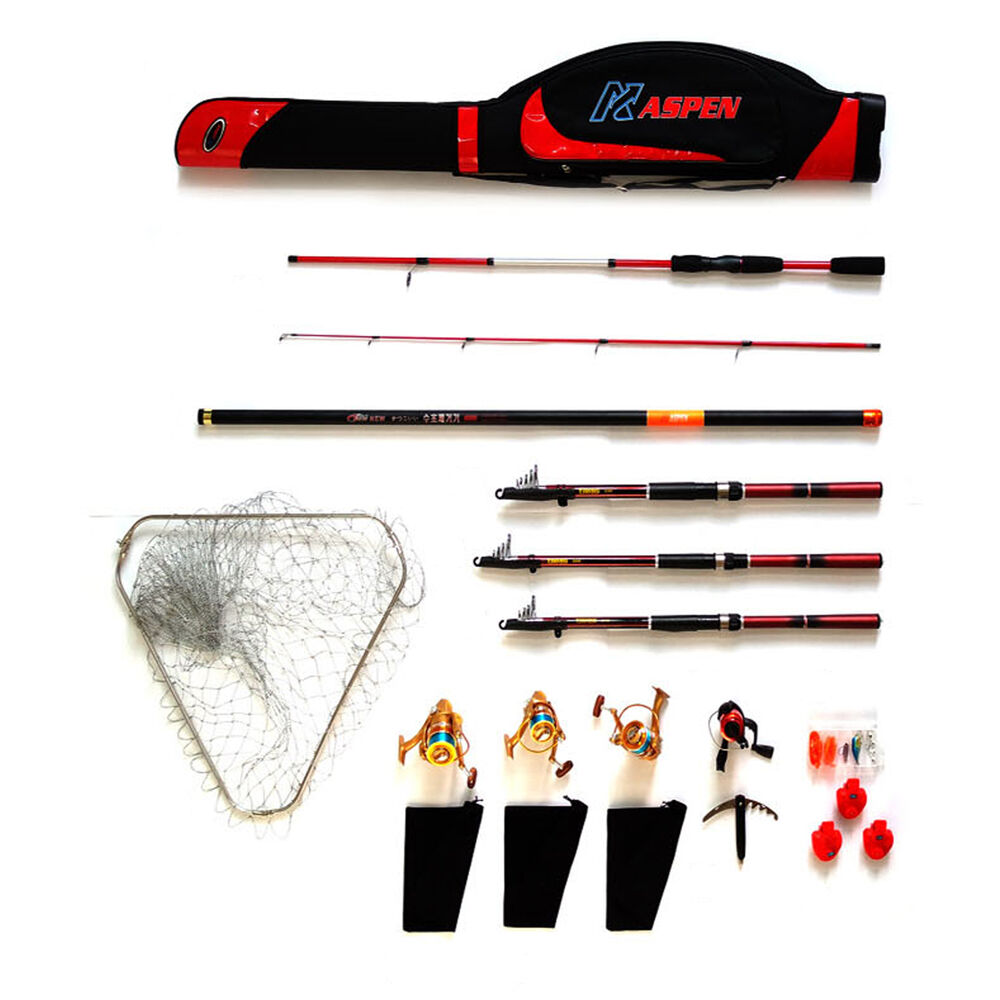 Aspen fishing reel set 50 in 1 kit spinning rod worm for Electric fishing rod