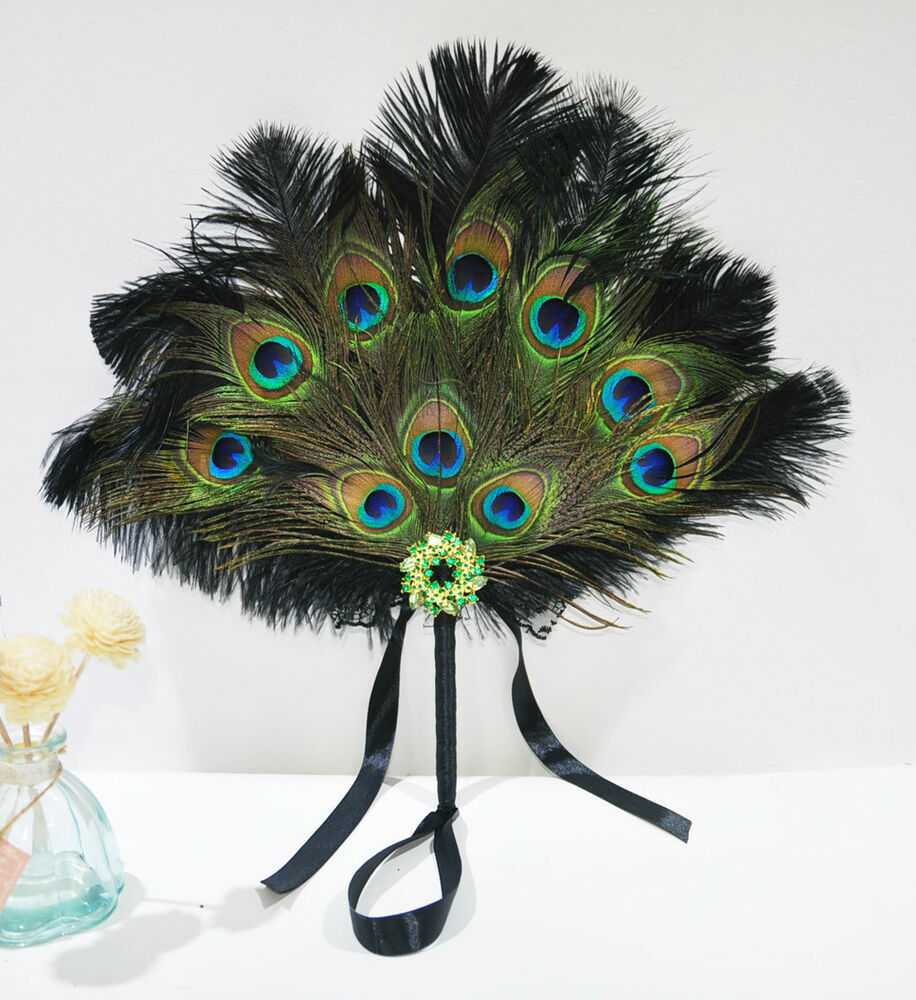 Peacock Wedding Gifts: Black Bridal Bouquet Peacock & Ostrich Feathers Bridesmaid