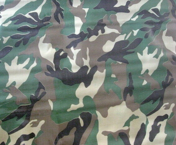 Camouflage Green Forest Wood Military Camp Hunt Oilcloth