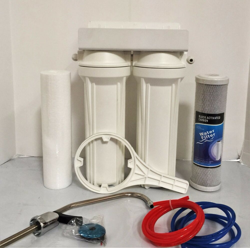 Under Sink Dual Water Filtration System Carbon Block And