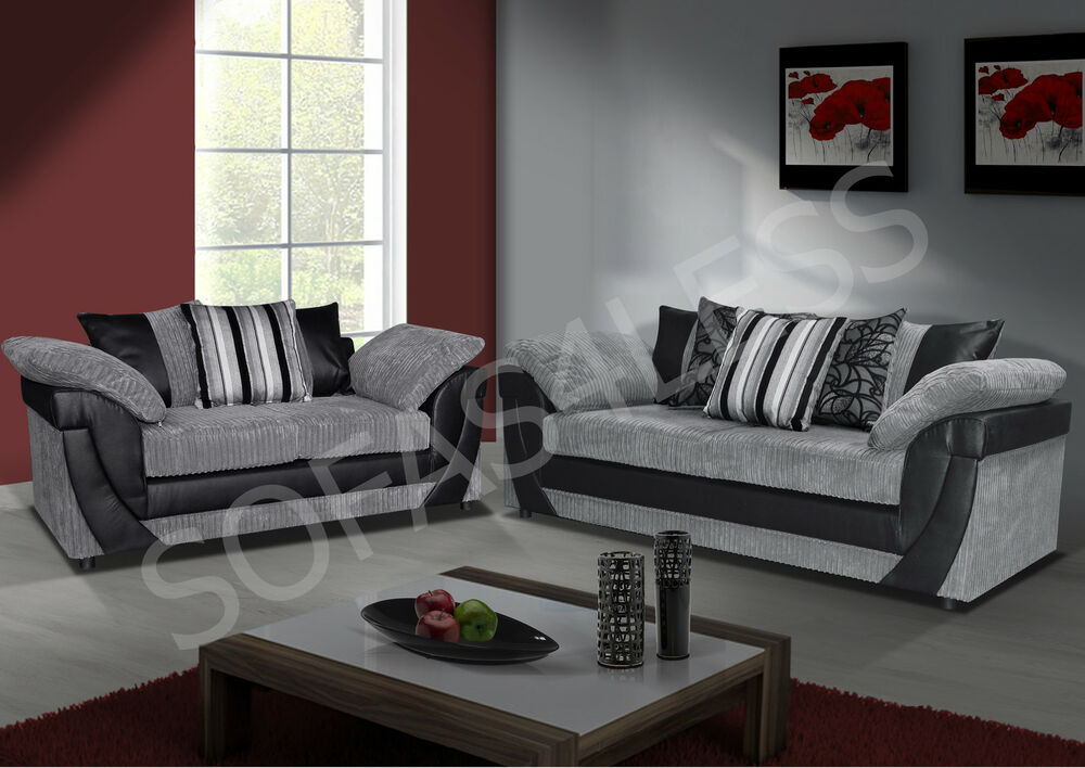 New Lush 3 + 2 Seater Sofa Faux Leather & Fabric Brown