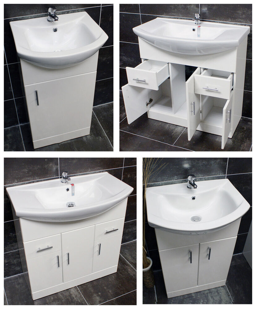 Designer bathroom vanity basin sink unit storage 450 550 650 750 850 1000 white ebay - Designer bathroom sinks basins ...