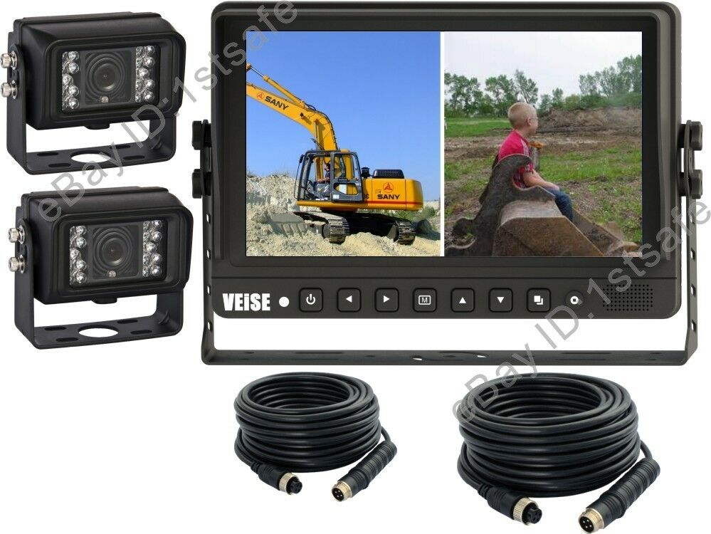 9 Quot Quad Wired Rear View Backup Camera System Cab Video