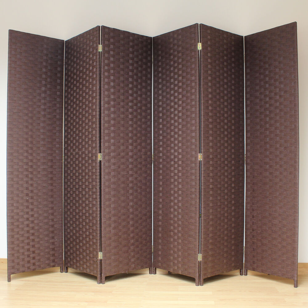 brown 6 panel solid style wicker room divider hand made privacy screen separator ebay. Black Bedroom Furniture Sets. Home Design Ideas