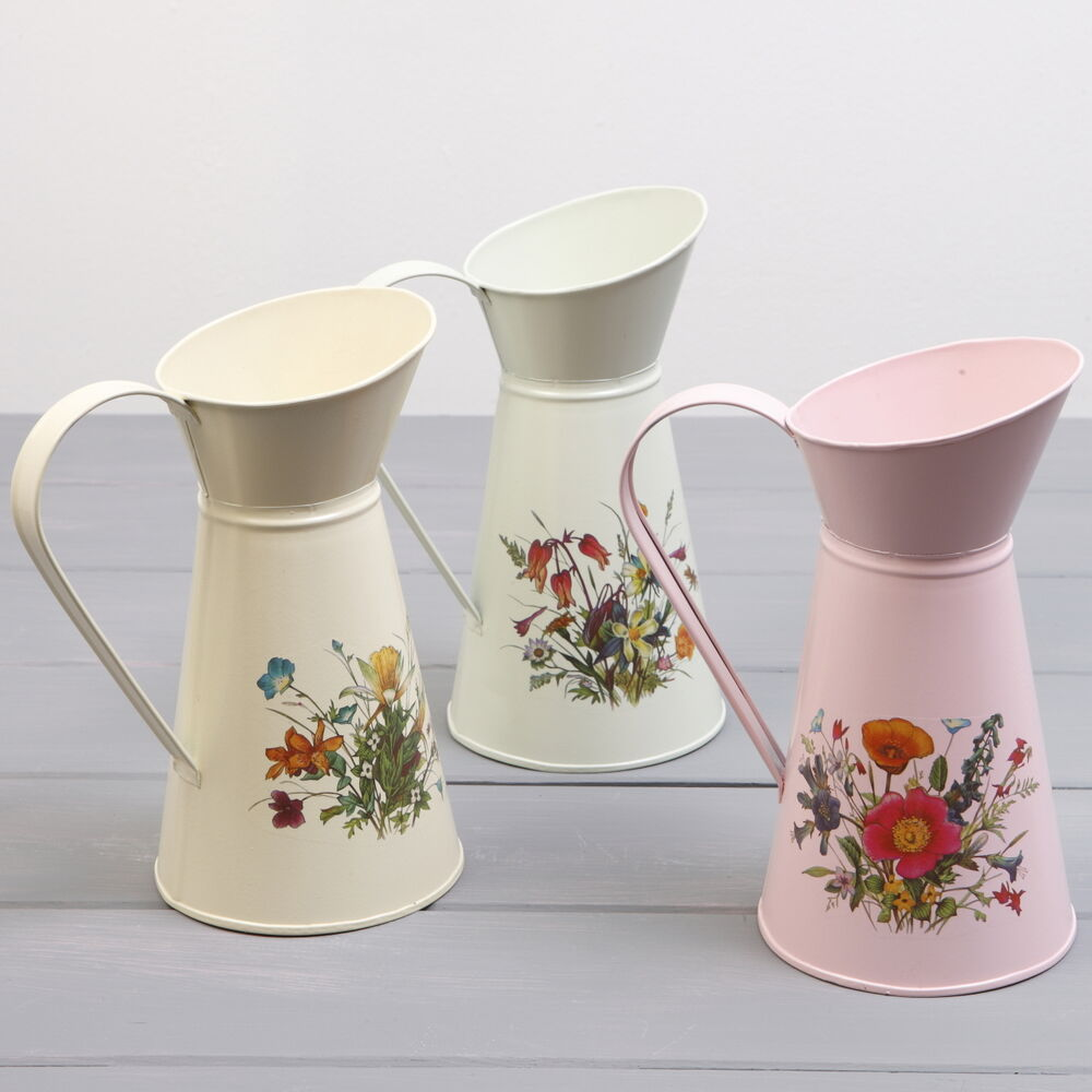 Shabby Chic Metal Jug Flower Pitcher Country Vintage
