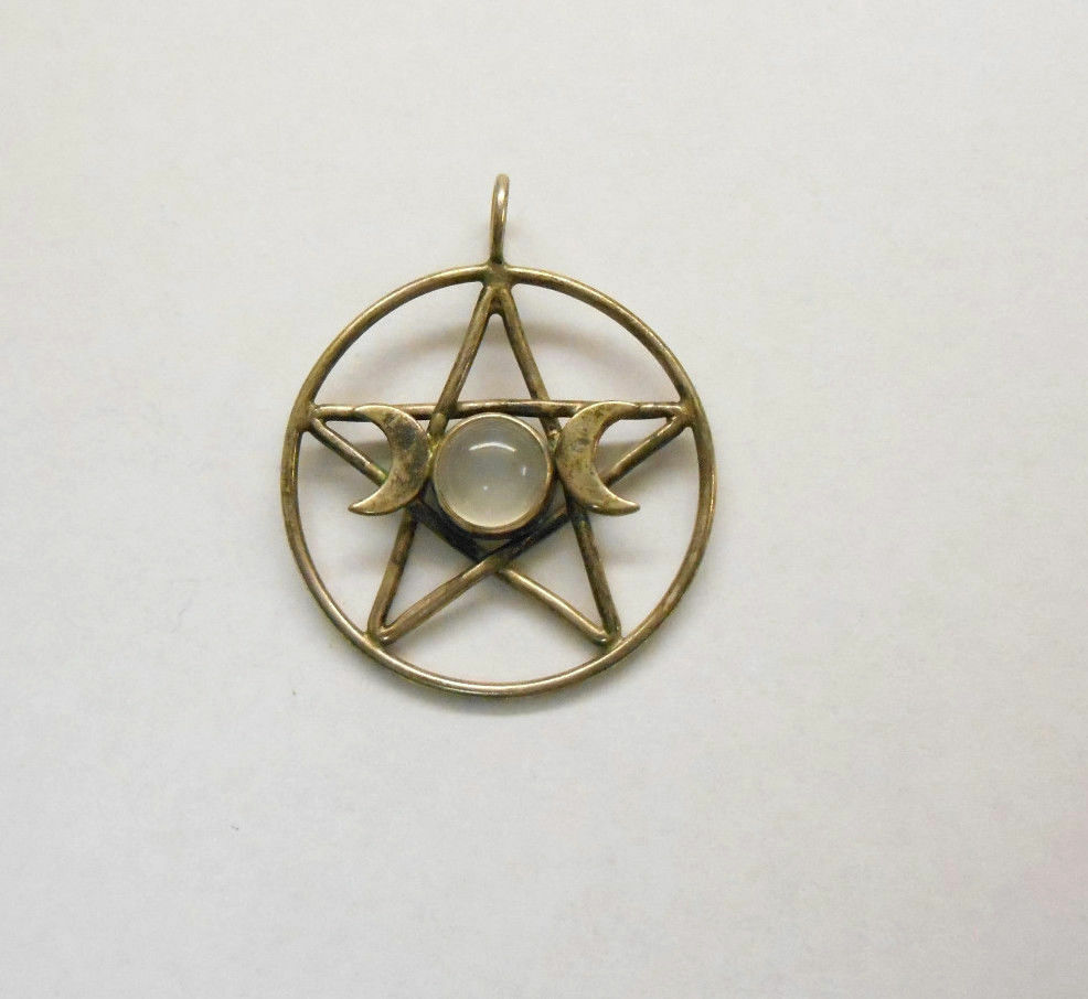 Sterling silver celtic star moons pendant w moonstone for Star hallmark on jewelry