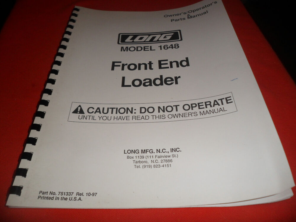 Drawer 12 Long 1648 Front End Loader Owners Manual
