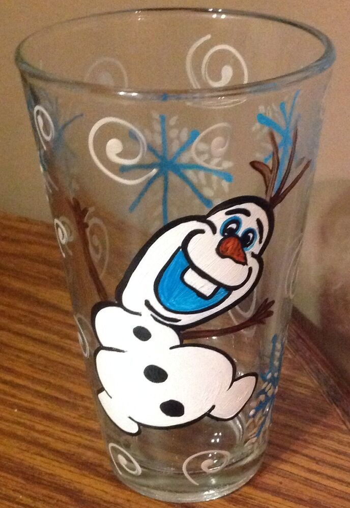 2 hand painted olaf snowman drinking glasses ebay for Hand painted drinking glasses