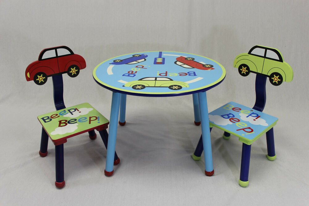 Kids Table And 2 Chairs Set With Car Theme Back Ebay