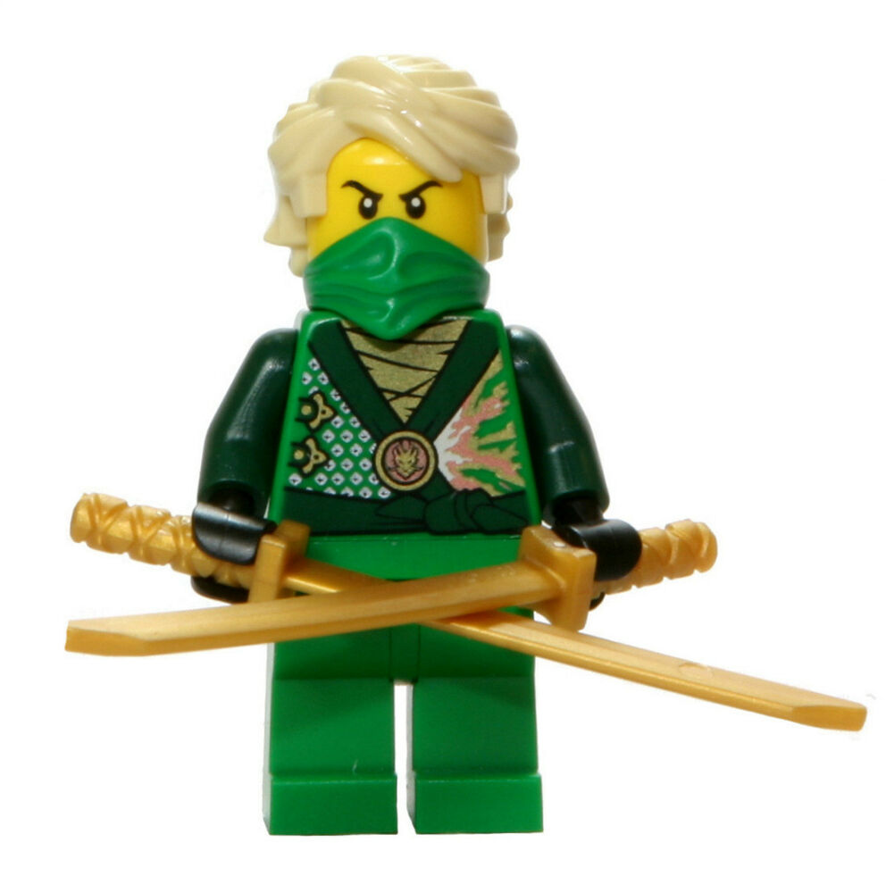 Lego 70725 ninjago green ninja lloyd rebooted minifigure with swords ebay - Ninja ninjago ...