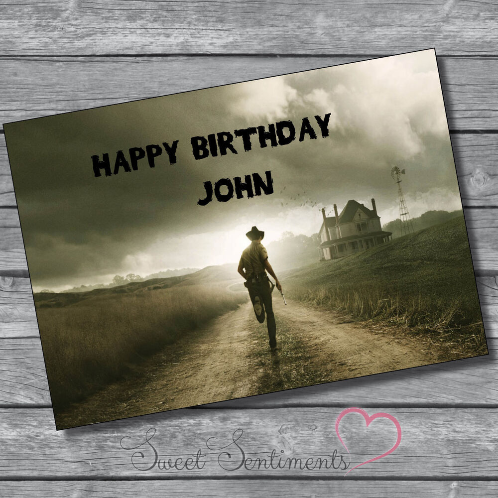 personalised the walking dead birthday card