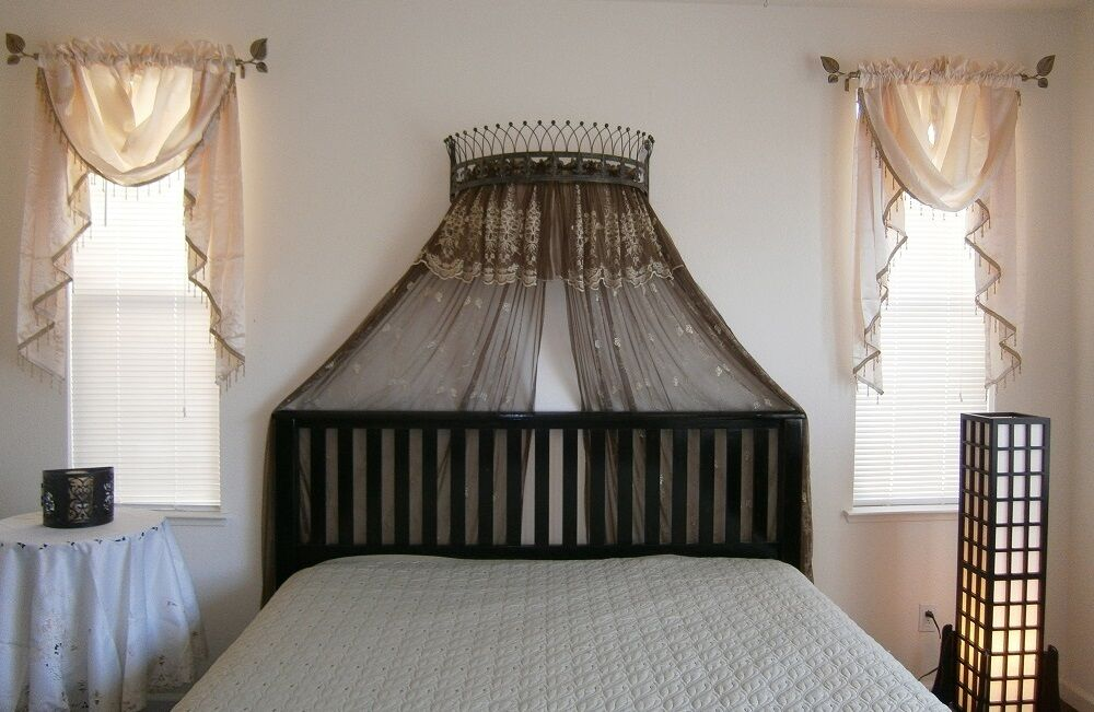 Metal Wall Teester Bed Canopy Drapery Crown Hardware Ebay