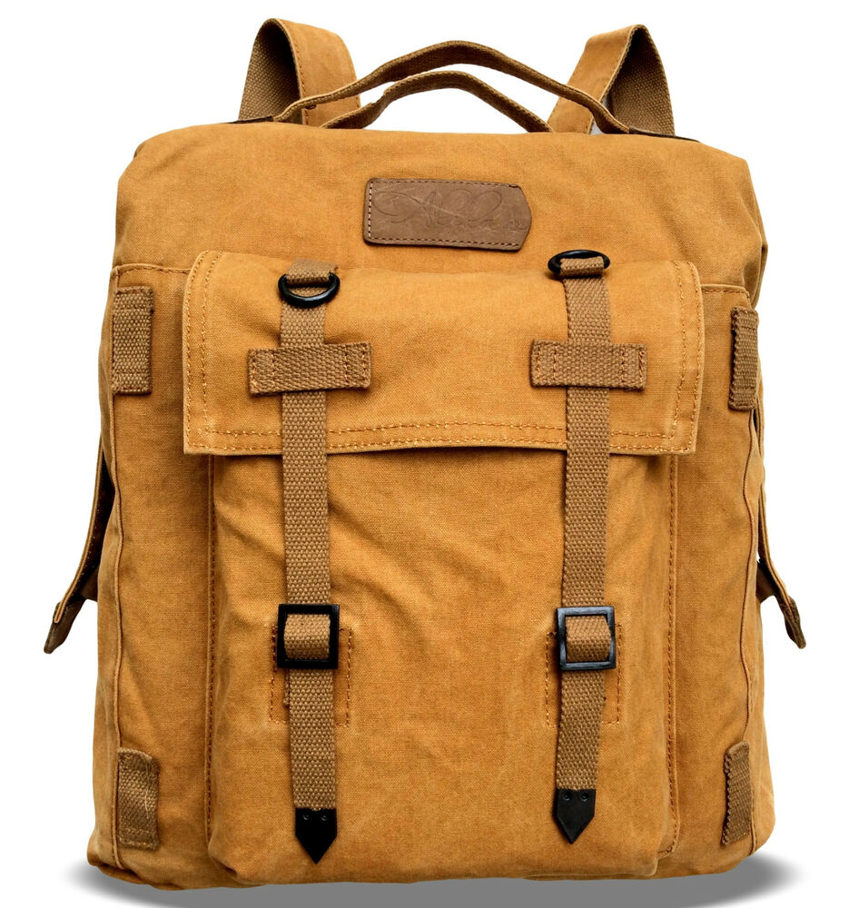 alilaw vintage retro canvas backpack dual use rucksack