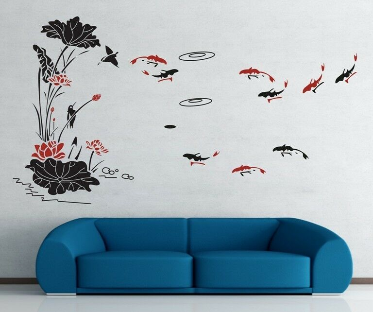 Lotus Flower And Fish Oriental Wall Stickers Decal Removable Art Vinyl Decor Diy Ebay