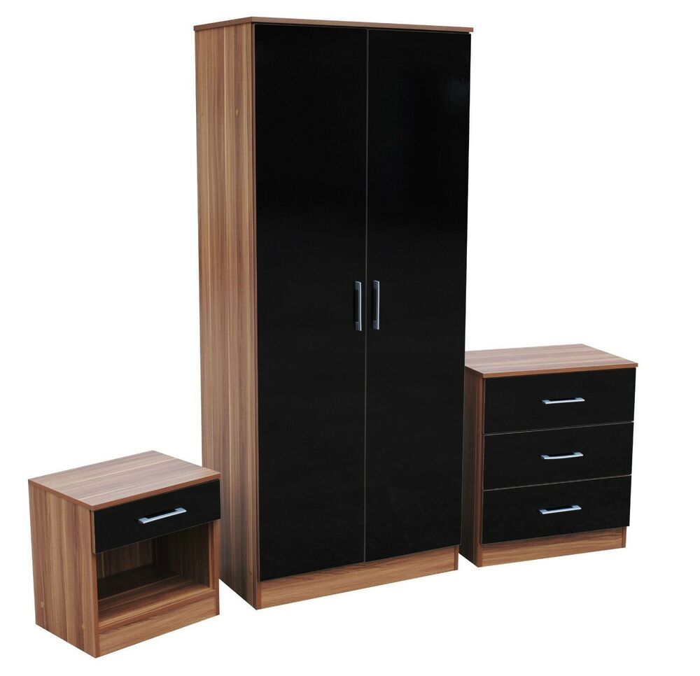 piece trio bedroom set wardrobe bedside chest black walnut ebay