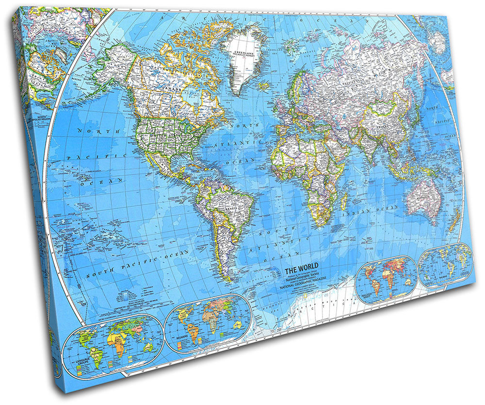 World Atlas 1981 Maps Flags Single Canvas Wall Art Picture