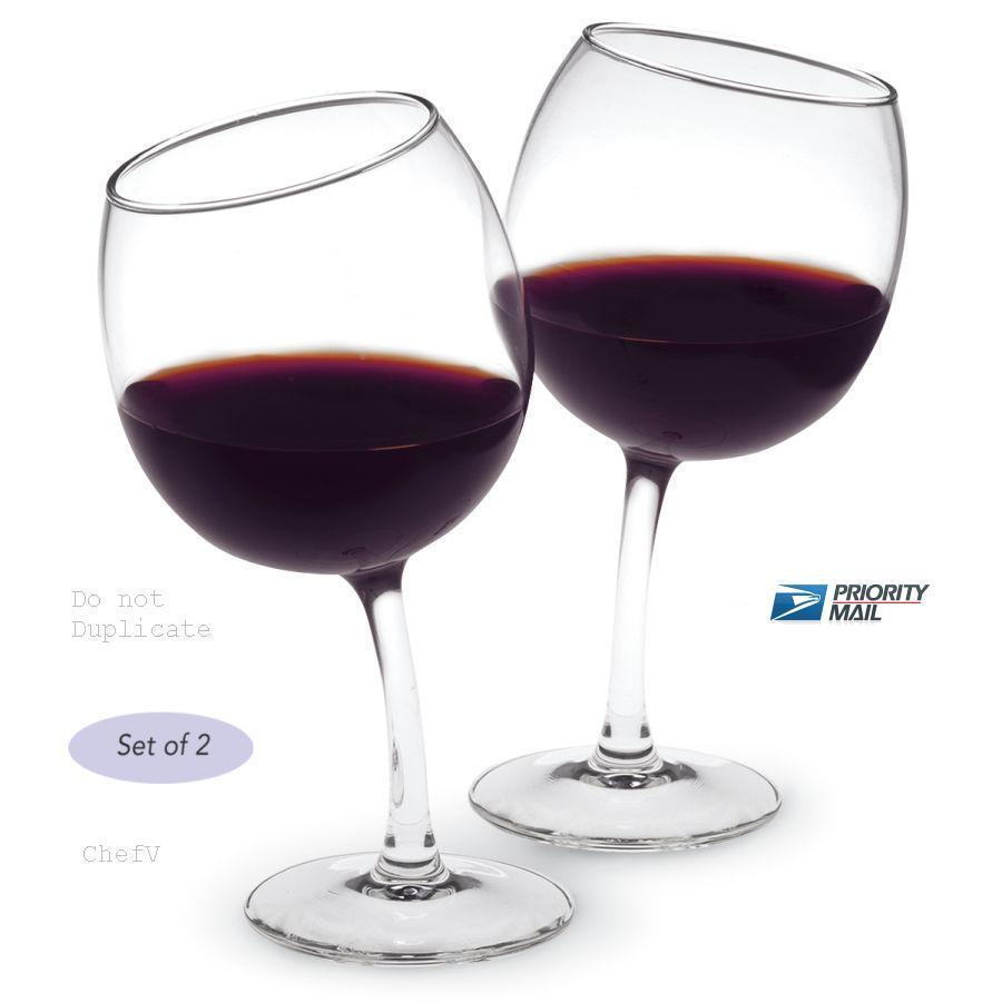 12oz unique tipsy crooked curved wine glasses ebay. Black Bedroom Furniture Sets. Home Design Ideas