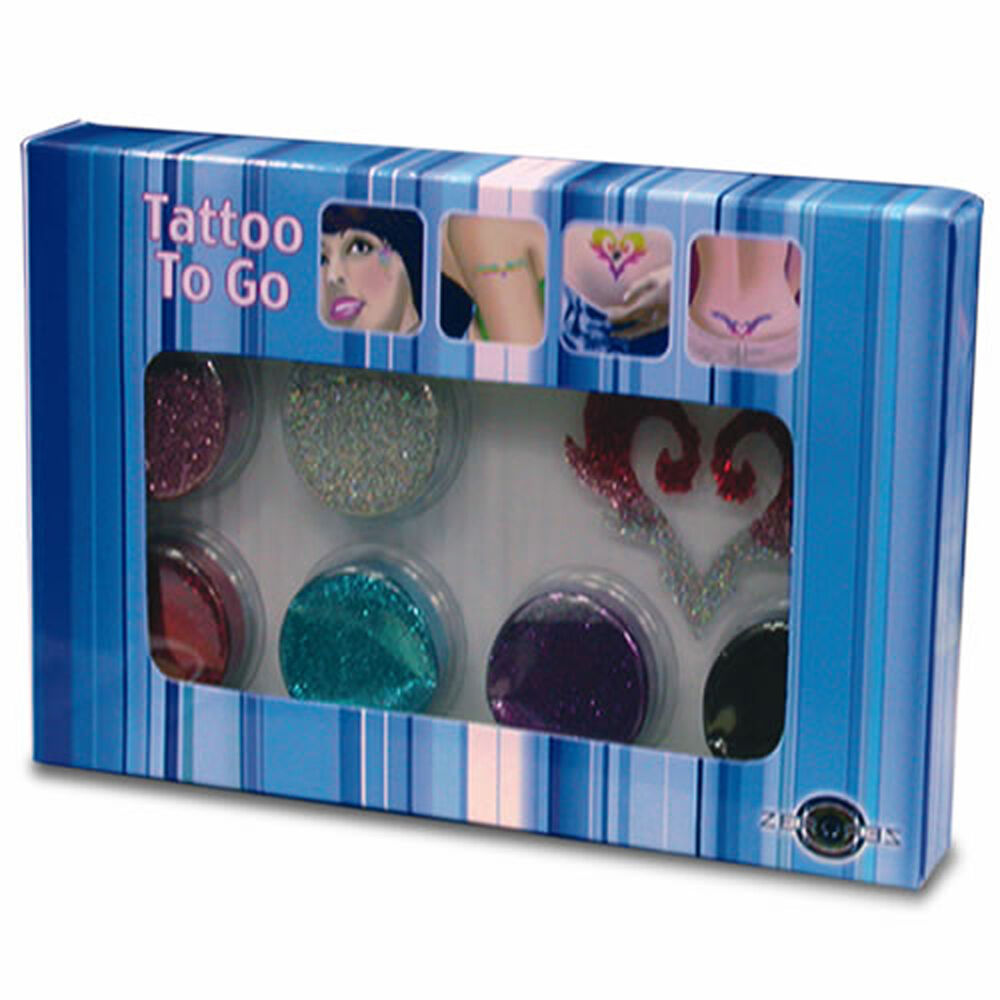 Glitter tattoo kit with assortment of colors and stencils for Ebay tattoo kit