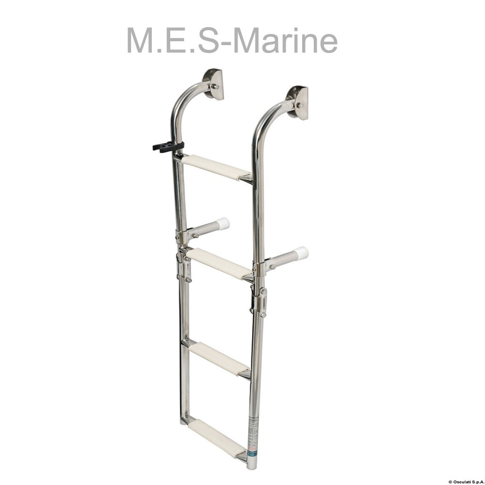 Stainless Steel 4 Step Foldable Boat Ladders Wall Mounting