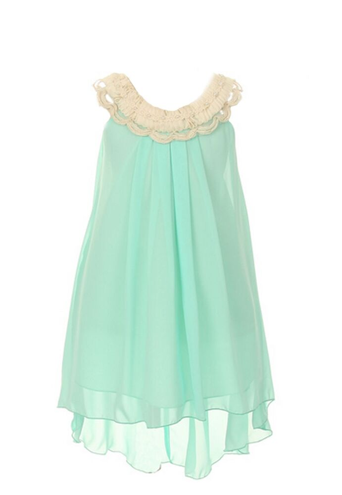 Clooney lace chiffon hi low wedding flower girl dress made for Flower girls wedding dress