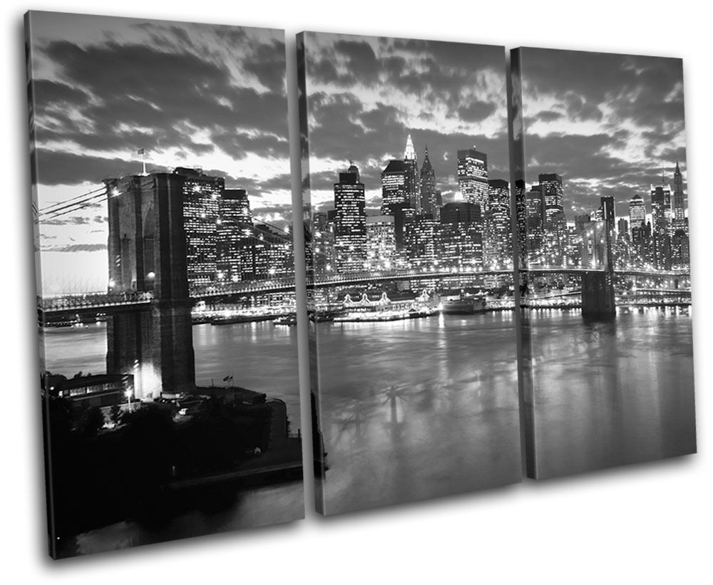 Nyc brooklyn bridge city treble canvas wall art picture for Art and craft store in brooklyn ny