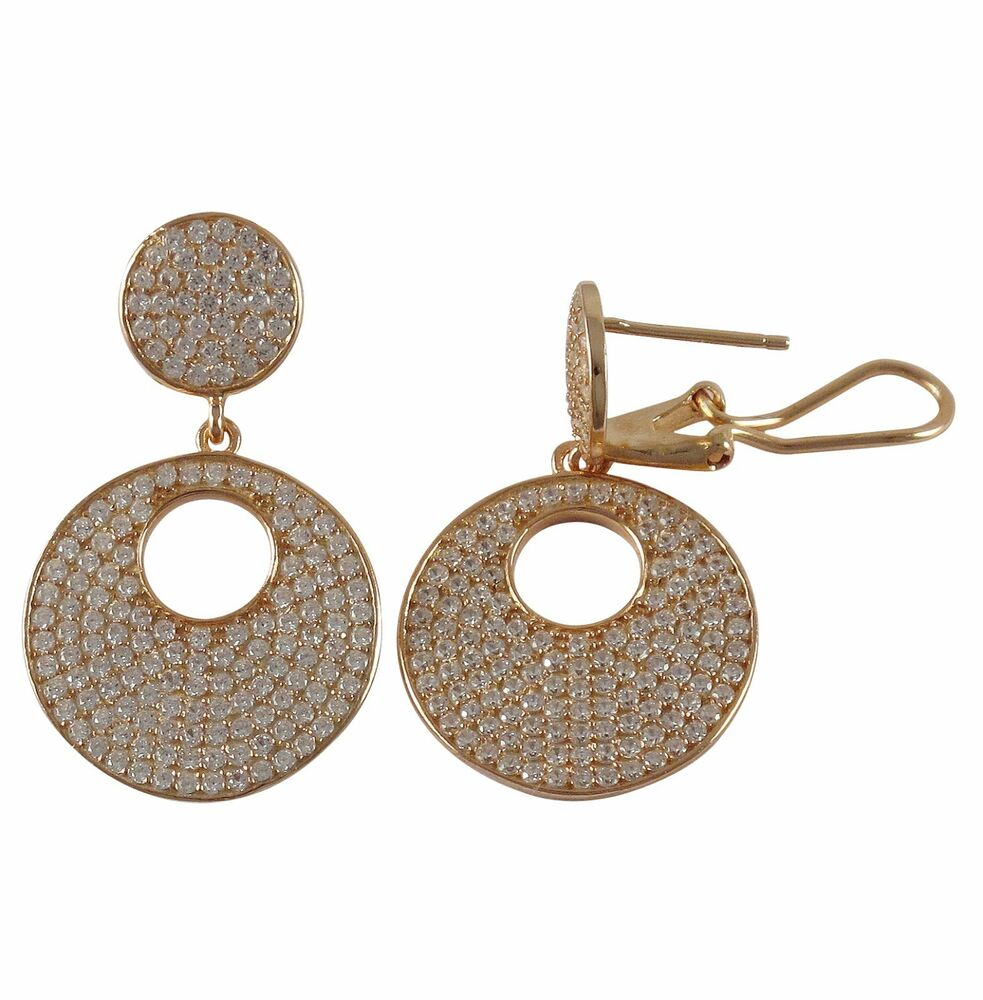 rose gold plated sterling silver post clip pave cz circle
