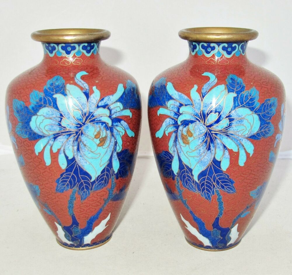 Antique ? Pair Of Chinese Cloisonne Brick Red Vases With
