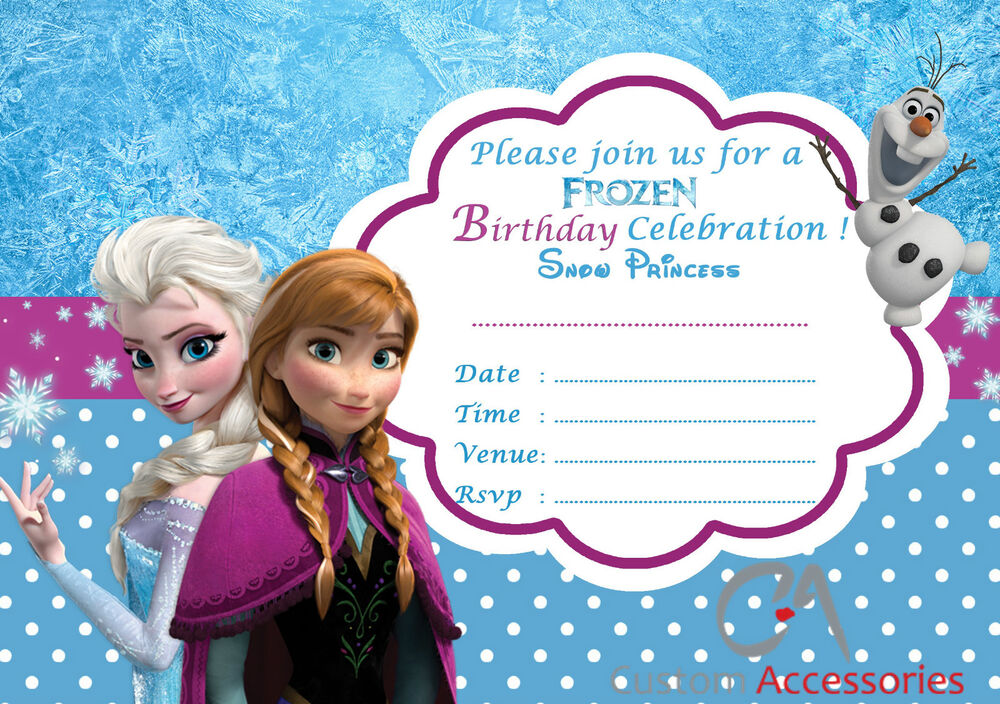 20x FROZEN ELSA PARTY INVITATIONS KIDS CHILDREN'S INVITES BIRTHDAY A5 | eBay