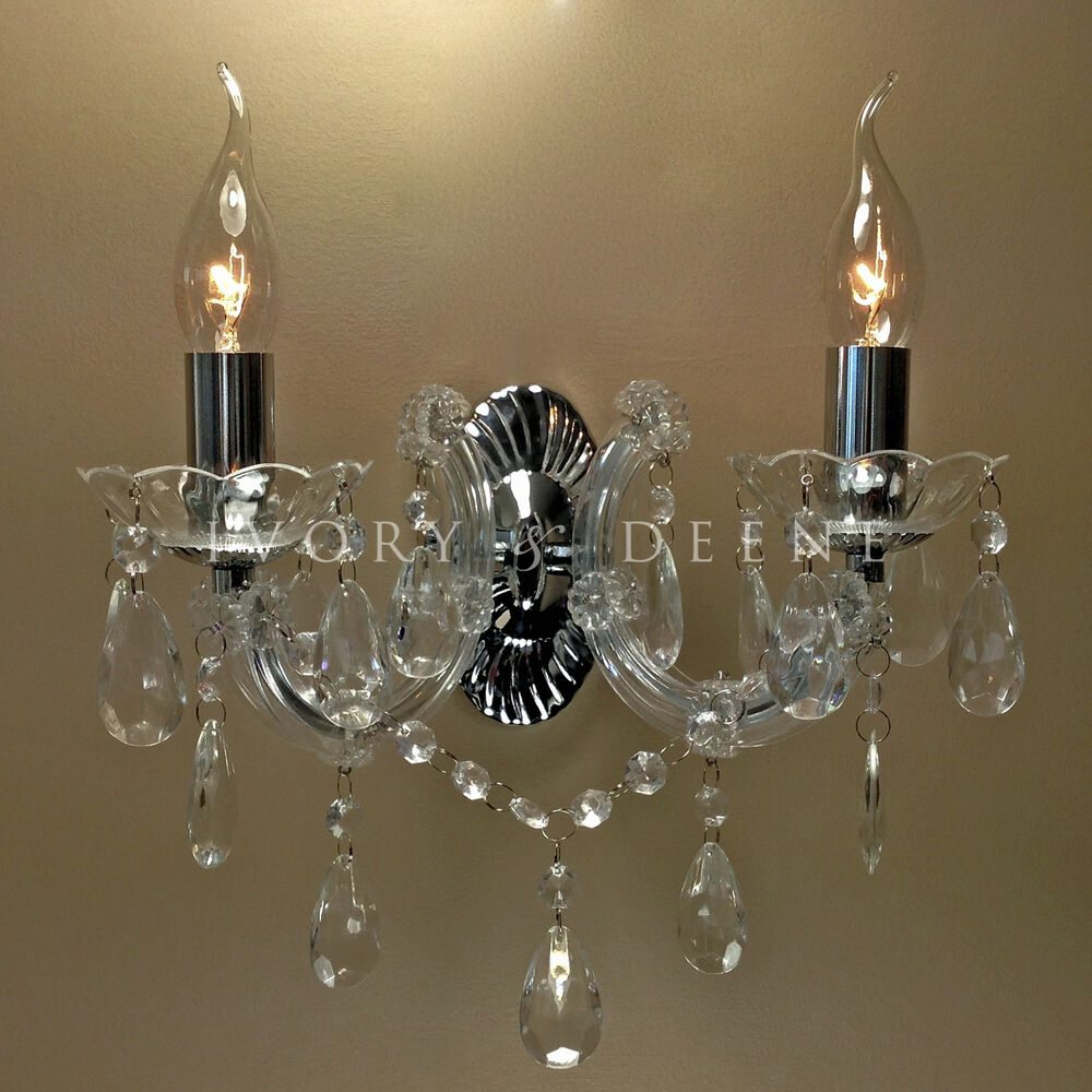 Wall Light Chandelier: VINTAGE WALL LIGHT MARIE THERESE 2 ARM CHROME CRYSTAL
