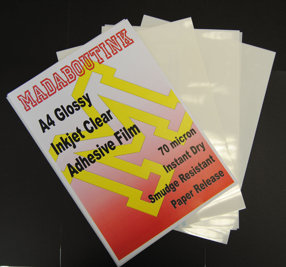20 A4 Inkjet Printable Clear Adhesive Acetate Sticker Film