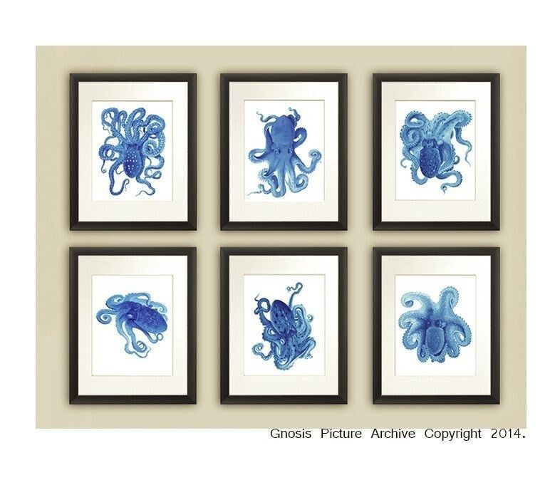 Blue octopus prints set of 6 unframed blue beach decor for Blue bathroom wall decor