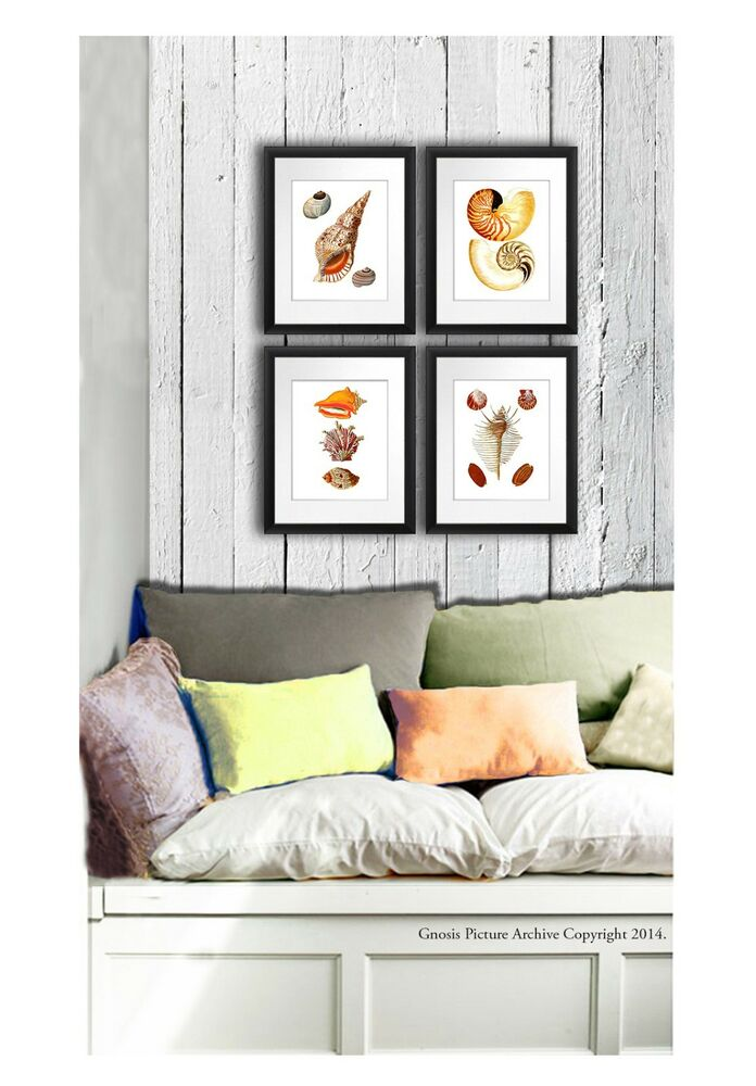 Wall hanging beach home decor wall art set of 4 prints for Home decor wall hanging