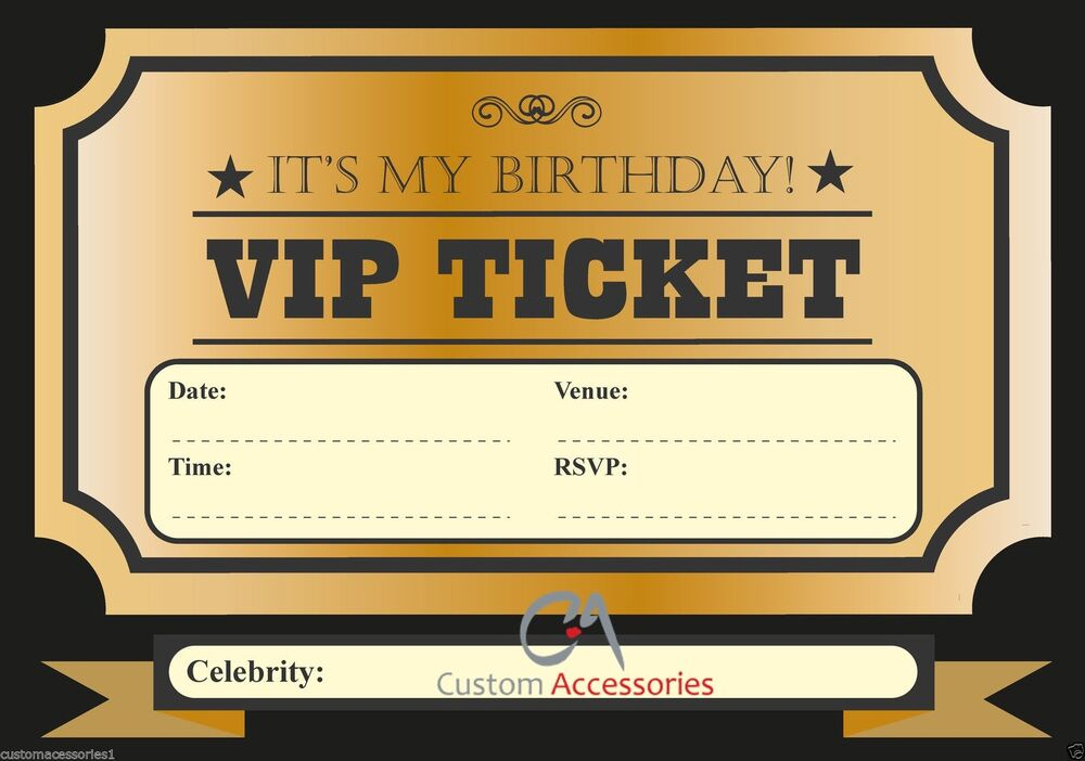 vip ticket invite birthday party invitations kids boys. Black Bedroom Furniture Sets. Home Design Ideas