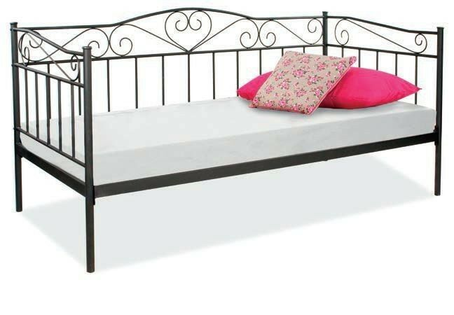 bett bettgestell metallbett bettrahmen einzelbett jungendbett 90x200 schwarz ebay. Black Bedroom Furniture Sets. Home Design Ideas