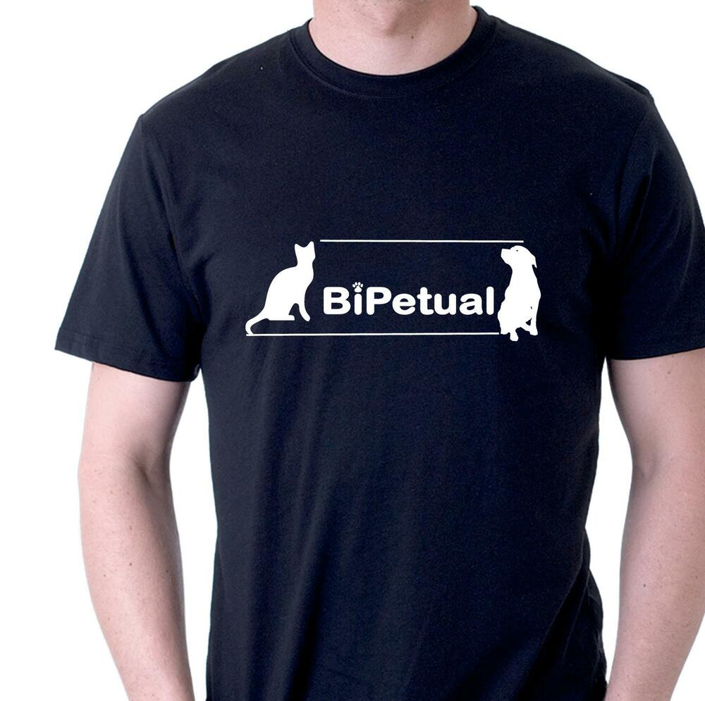 funny t shirt bipetual cat and dog owners for dogs and cats people mens womens ebay. Black Bedroom Furniture Sets. Home Design Ideas