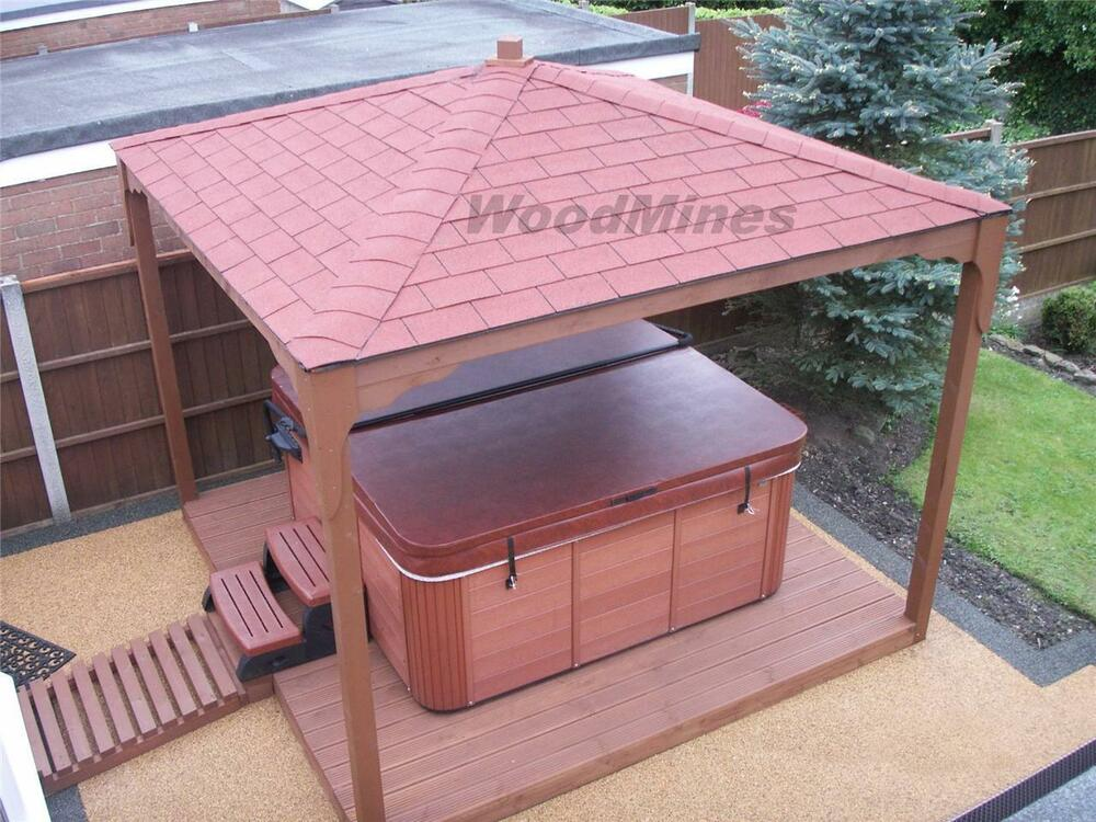 3m wooden gazebo hot tub smoking shelter pond cover for Hot tub shelters