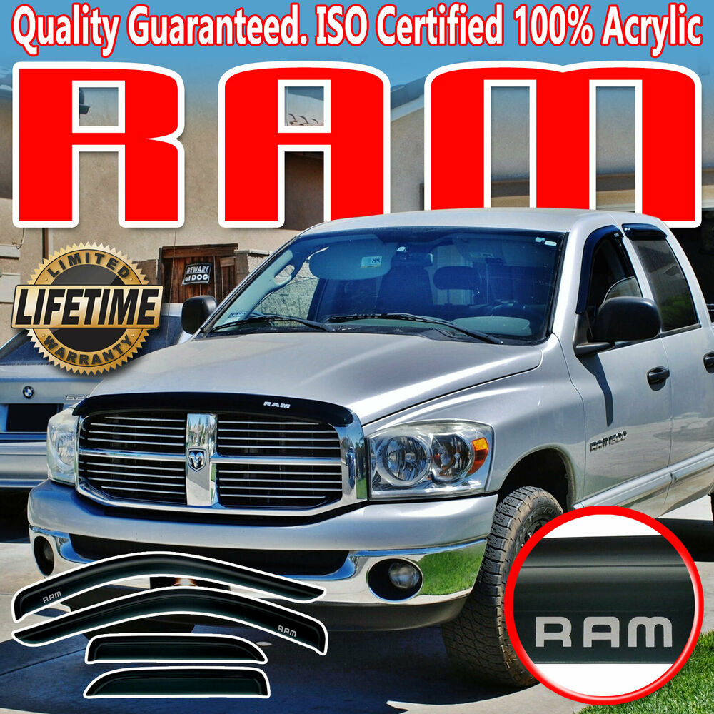 02 08 Dodge Ram Quad Cab Side Door Window Deflectors With