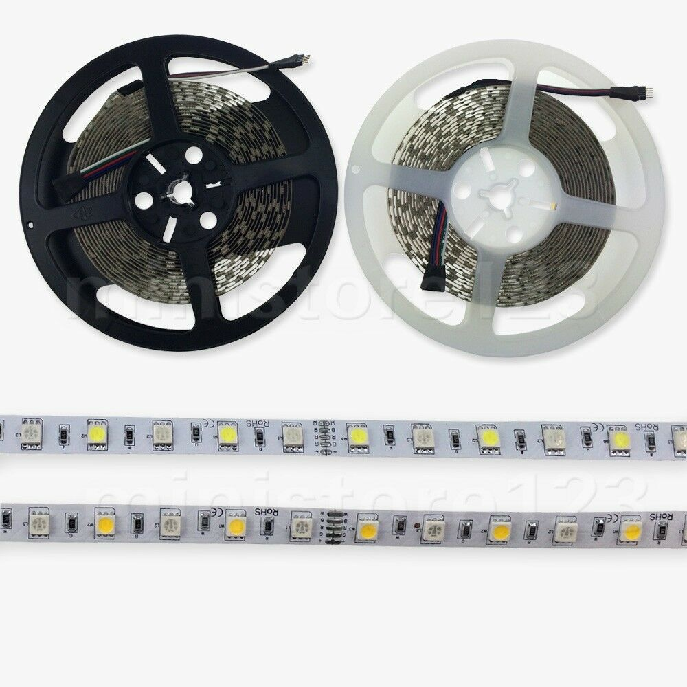 new smd 5 10 20m 5050 rgbw rgb white led strip light 60led m waterproof dc 12v ebay. Black Bedroom Furniture Sets. Home Design Ideas