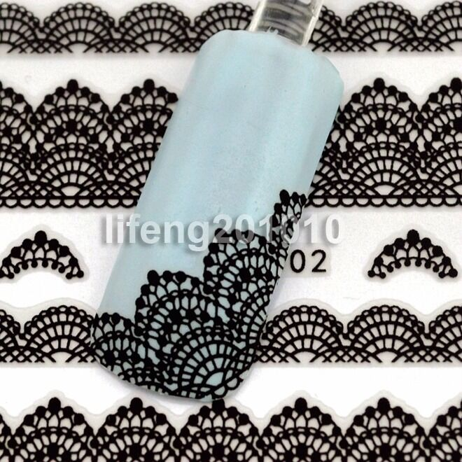 3D Black Lace Design Nail Art Stickers Decals For Nail