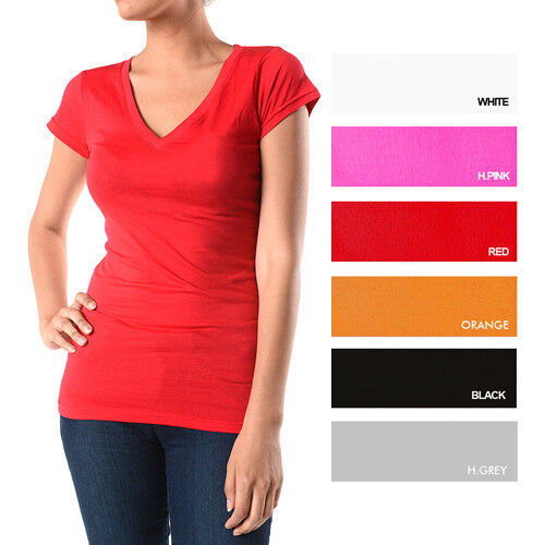 Ladies v neck t shirts 95 cotton 5 spandex ebay for Cotton and elastane t shirts