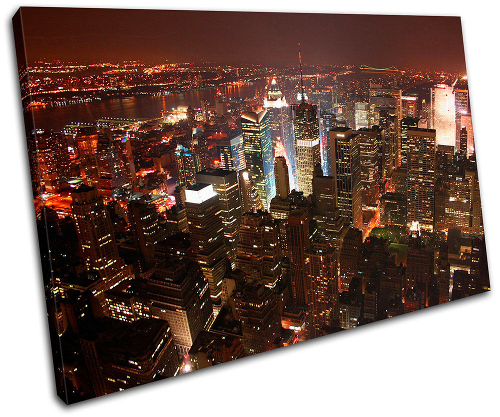 New York City Skyline Canvas Wall Art Large Art New York: New York NYC Skyline City SINGLE CANVAS WALL ART Picture