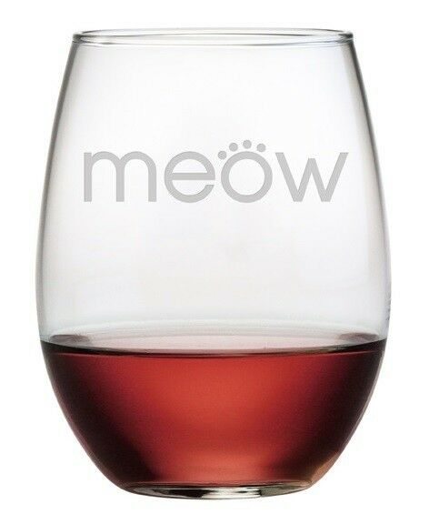 stemless wine glasses meow cat lovers set  4 hand etched