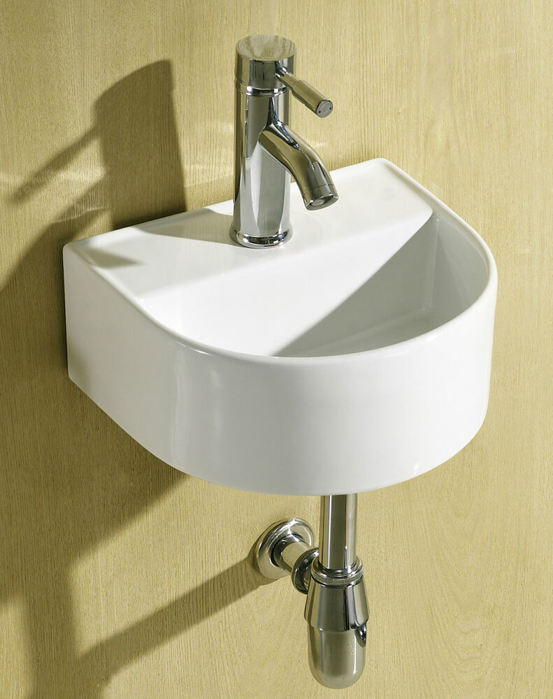 small compact round d shaped cloakroom basin bathroom sink wall hung