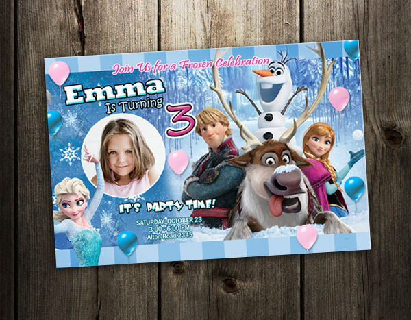 FROZEN DISNEY BIRTHDAY PARTY INVITATION CUSTOM CARD baby SHOWER