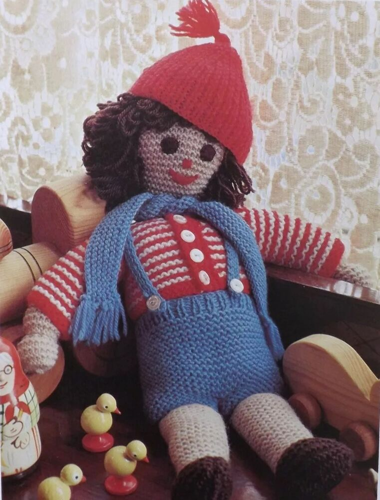 Doll/Toy & Clothes Knitting Pattern Vintage Trousers Jumper Red Hat 14&qu...