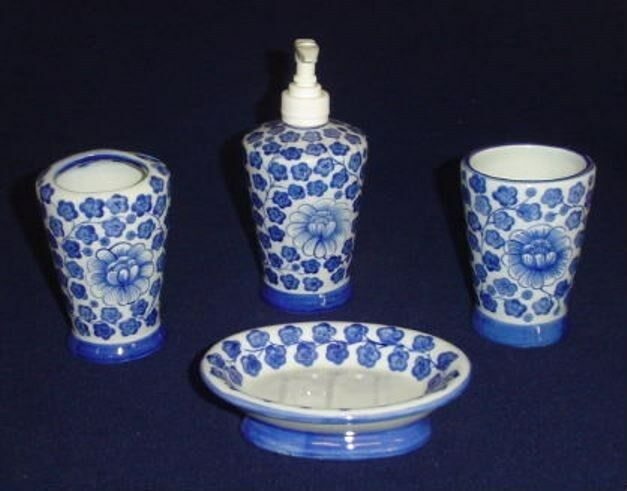 white porcelain bathroom accessories sea island bathroom accessory set in blue and white 21580