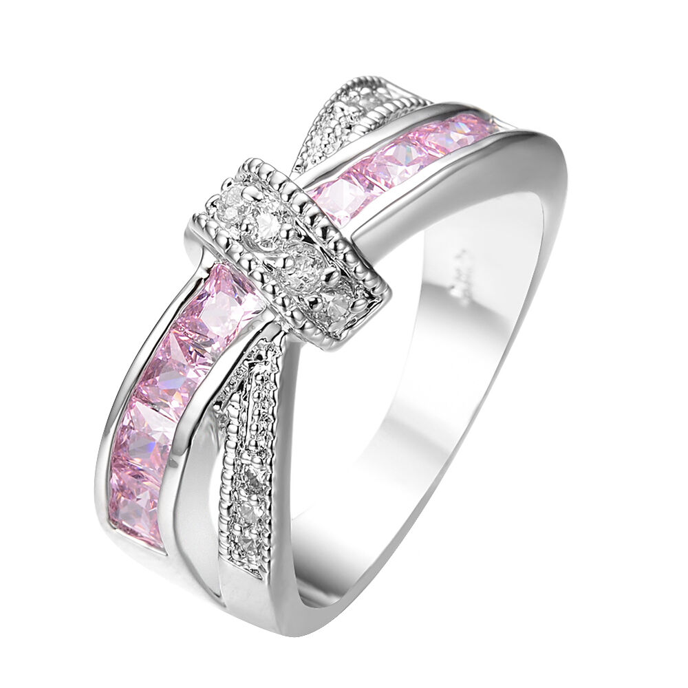 Pink Sapphire CZ Criss Cross Wedding Ring Women's 10KT