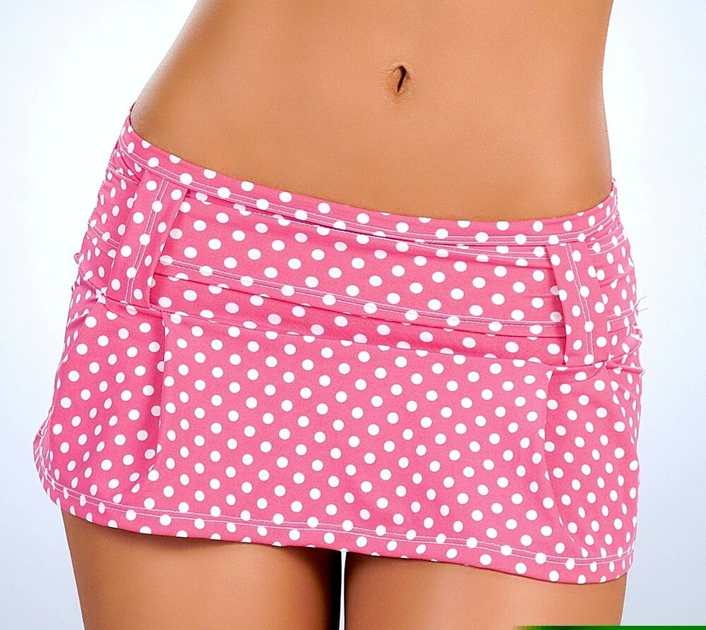 New 5005 Pink Polka Dots PLEATED DANCE ROLLER MICRO MINI Short SKIRT ...